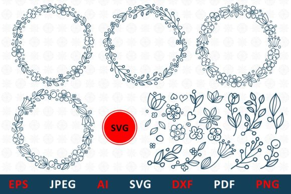 Download Free Floral Wreaths And Elements Bundle Graphic By Millerzoa for Cricut Explore, Silhouette and other cutting machines.