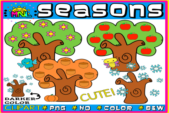 Download Free Four Seasons Clip Art Graphic By Ziza Mariposa Creative Fabrica for Cricut Explore, Silhouette and other cutting machines.