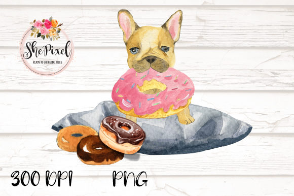 Download Free French Bulldog Donut Watercolor Clipart Graphic By Shepixel for Cricut Explore, Silhouette and other cutting machines.
