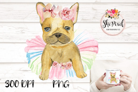 Print on Demand: French Bulldog Watercolor Clipart Graphic Illustrations By ShePixel