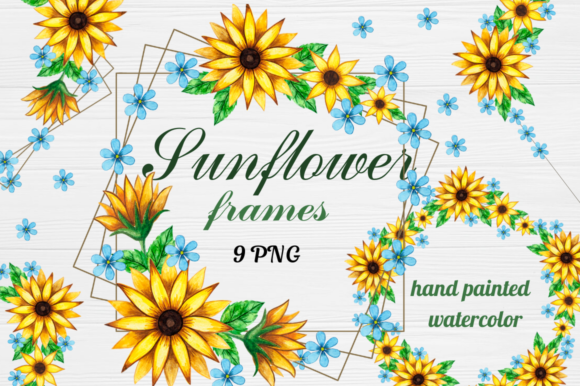 Print on Demand: Geometric Sunflower Floral Frames Clipart Graphic Illustrations By  Magic world of design