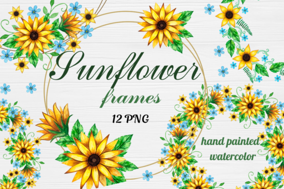 Geometric Sunflower Floral Frames Clipart Graphic Illustrations By  Magic world of design