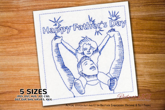 Girl with Father Father's Day Embroidery Design By Redwork101