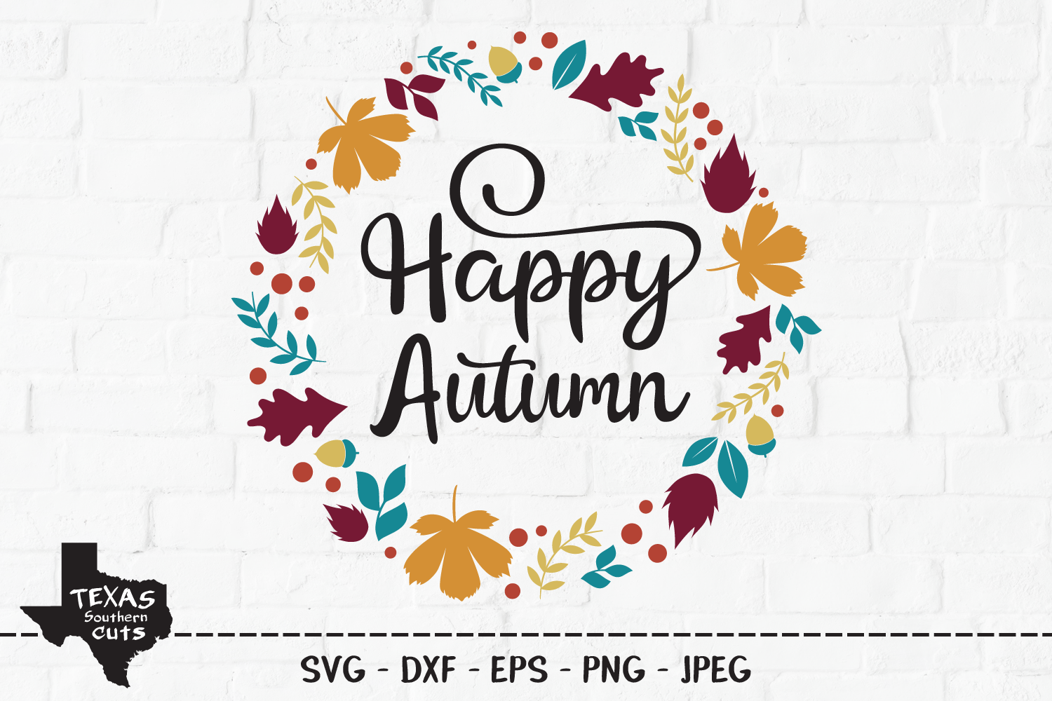 Download Free Happy Autumn Wreath Design Graphic By Texassoutherncuts for Cricut Explore, Silhouette and other cutting machines.