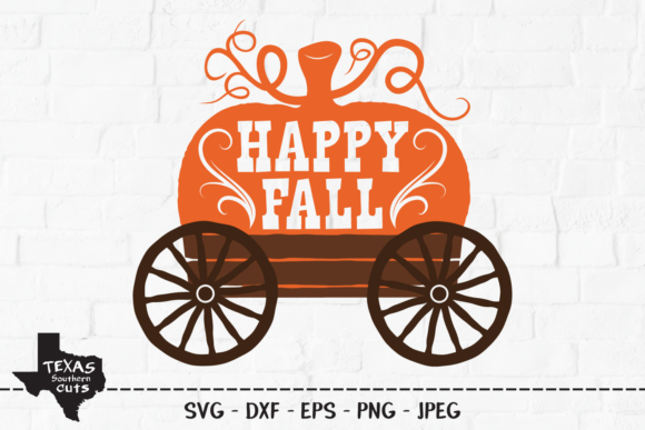 Download Free Happy Fall Pumpkin Wagon Design Graphic By Texassoutherncuts for Cricut Explore, Silhouette and other cutting machines.