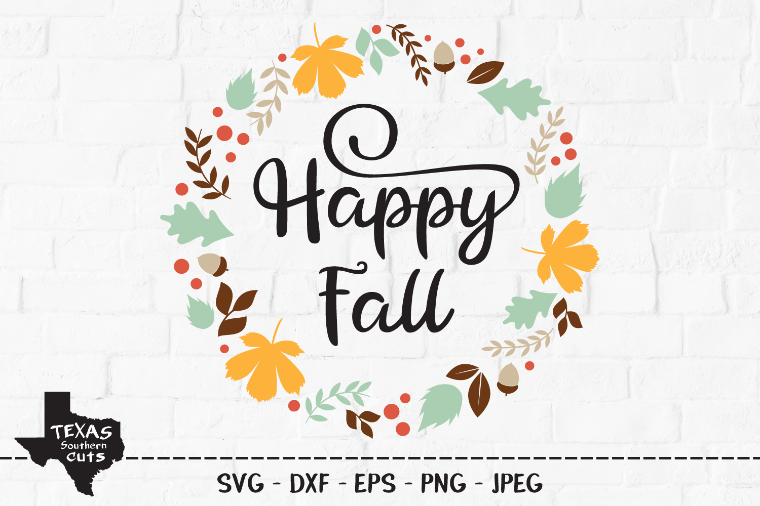 Download Free Happy Fall Wreath Design Graphic By Texassoutherncuts for Cricut Explore, Silhouette and other cutting machines.