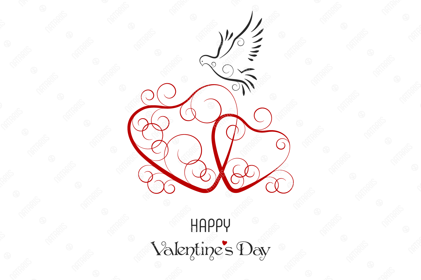 Download Free Happy Valentine S Day Greeting Card Graphic By Natariis Studio for Cricut Explore, Silhouette and other cutting machines.
