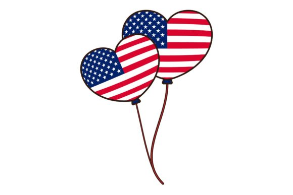 Print on Demand: Independence Day 4th July Heart Balloon Graphic Illustrations By studioisamu