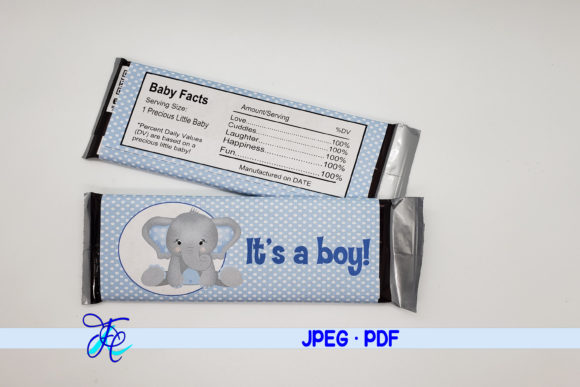 Download Free It S A Boy Elephant Candy Bar Wrapper Graphic By Family for Cricut Explore, Silhouette and other cutting machines.