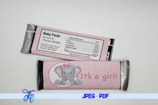 It's a Girl - Elephant Candy Bar Wrapper Graphic Crafts By Family Creations