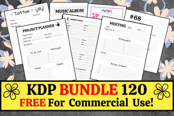 Print on Demand: KDP Bundle Pack 120 Templates + Extras Graphic KDP Interiors By Hungry Puppy Studio