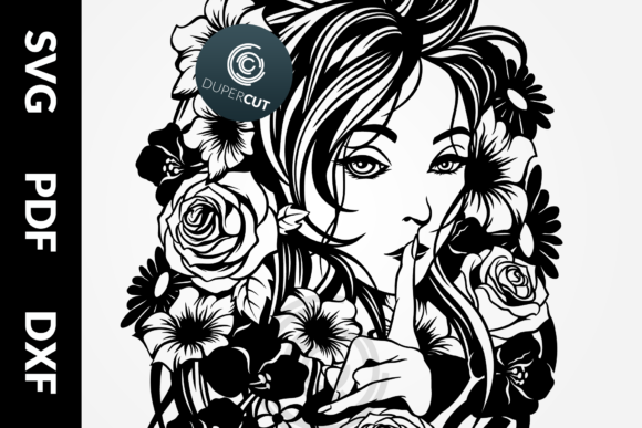 Download Free Lady Spring Graphic By Dupercut Creative Fabrica for Cricut Explore, Silhouette and other cutting machines.