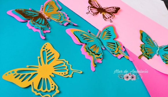 Download Free Layered Butterfly Graphic By Mar De Andalucia Creative Fabrica for Cricut Explore, Silhouette and other cutting machines.