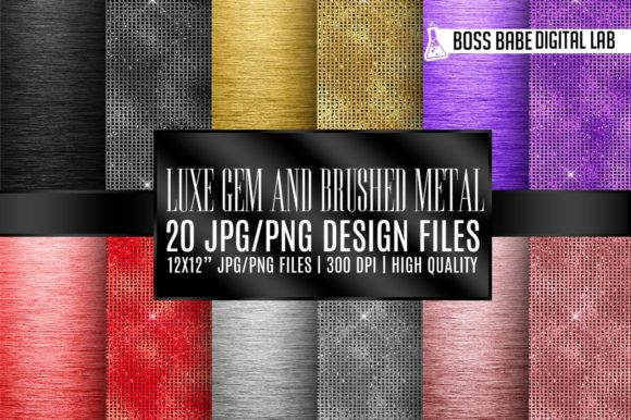 Print on Demand: Luxury Gem and Brushed Metal Textures Graphic Web Elements By bossbabedigitallab