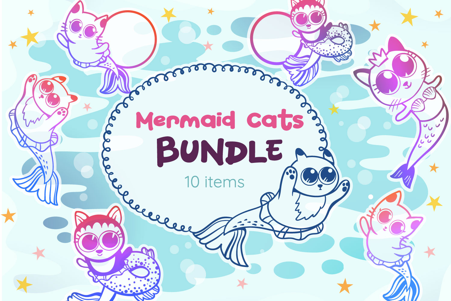 Download Free Mermaid Cats Bundle 10 Cut Files Graphic By Tatiana Cociorva for Cricut Explore, Silhouette and other cutting machines.