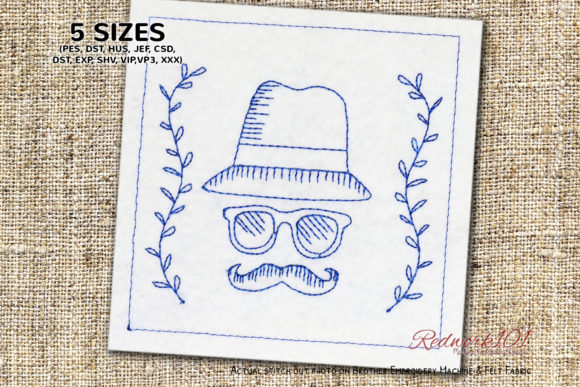 Mustache Fathers Day Father's Day Embroidery Design By Redwork101