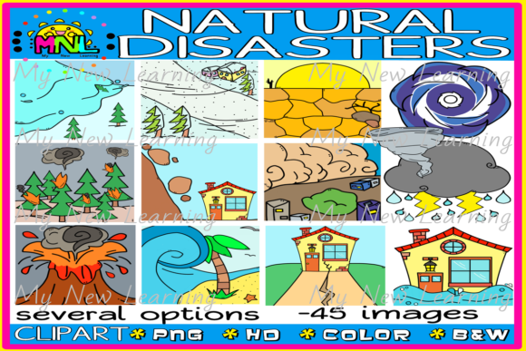 Natural Disasters Clip Art - 45 Images Graphic Teaching Materials By Ziza Mariposa