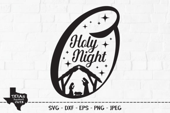 Download Free O Holy Night Christmas Design Graphic By Texassoutherncuts for Cricut Explore, Silhouette and other cutting machines.