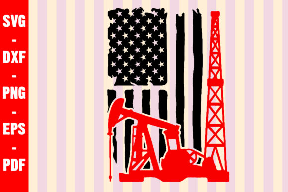 Download Free Oilfield American Flag Cut File Graphic By Creativeshohor for Cricut Explore, Silhouette and other cutting machines.