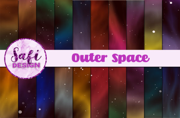 Print on Demand: Outer Space Digital Papers Graphic Backgrounds By Safi Designs