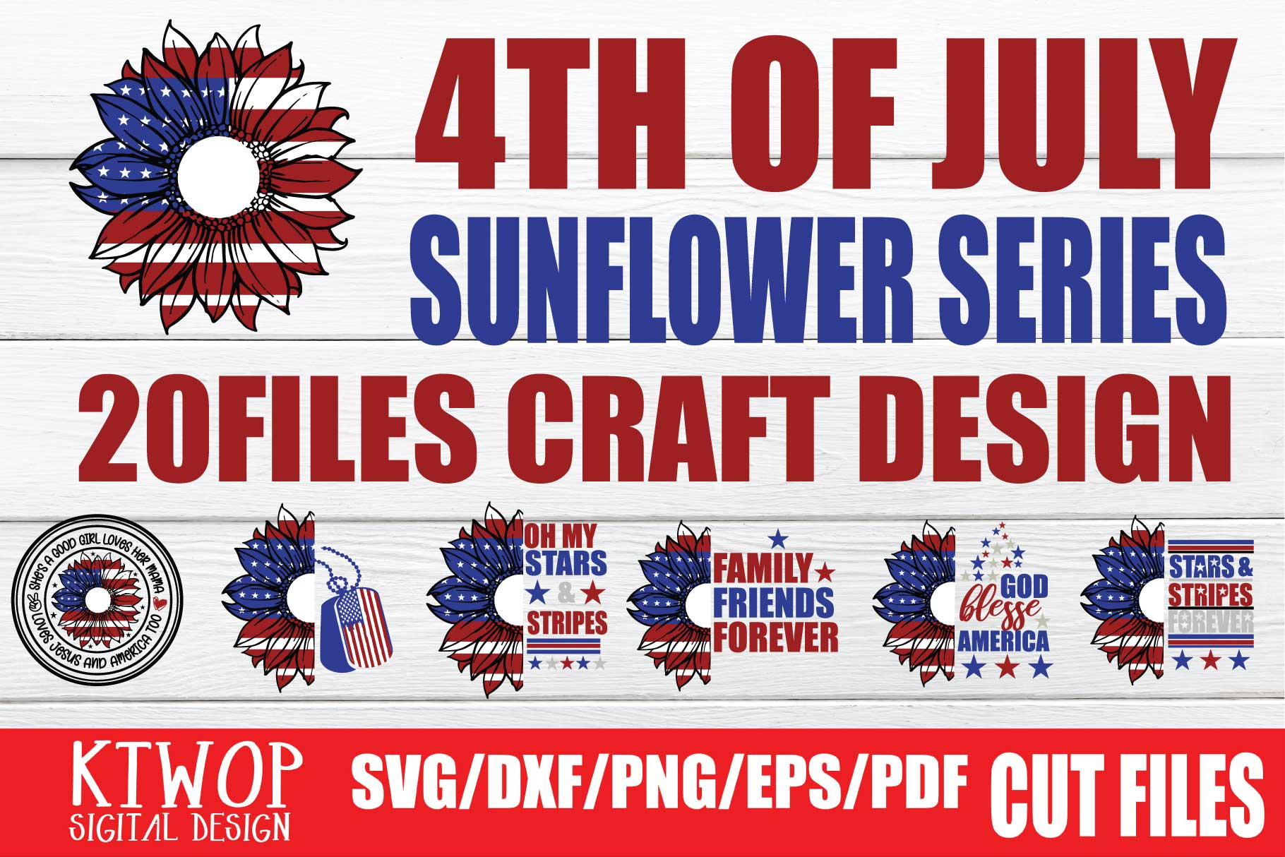 Download Free Patriotic 4th Of July 20 Files Bundle Graphic By Ktwop for Cricut Explore, Silhouette and other cutting machines.