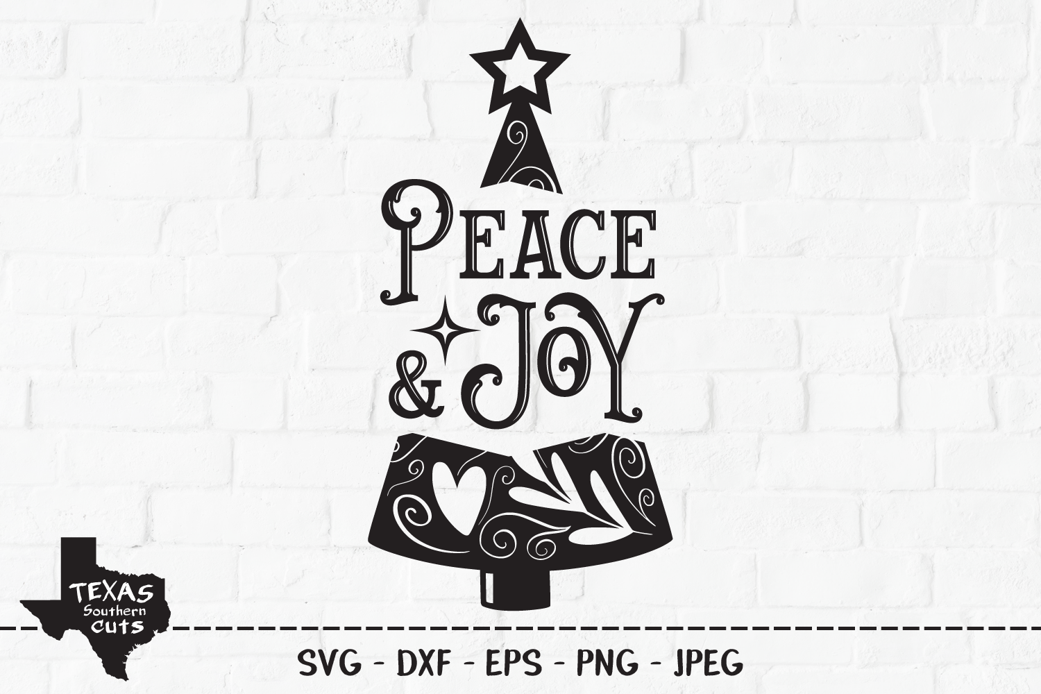 Download Free Peace Joy Christmas Tree Design Graphic By Texassoutherncuts for Cricut Explore, Silhouette and other cutting machines.
