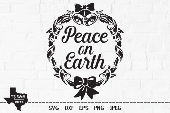Print on Demand: Peace on Earth - Wreath Design Gráfico Crafts Por texassoutherncuts