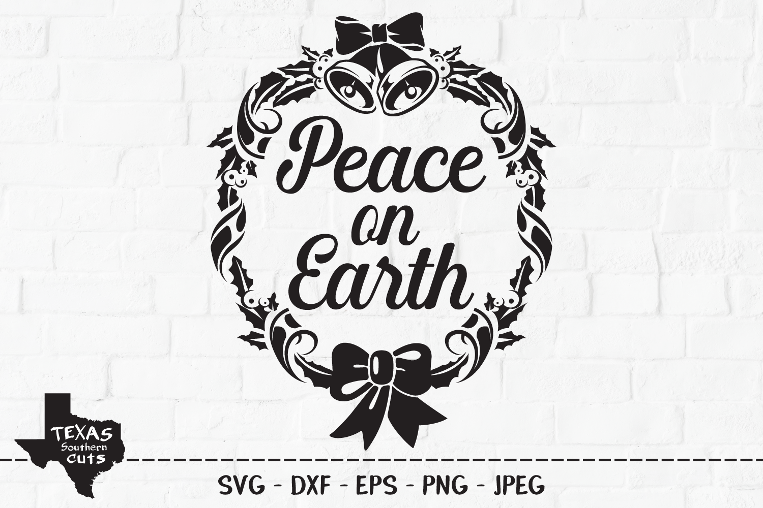 Download Free Peace On Earth Wreath Design Graphic By Texassoutherncuts for Cricut Explore, Silhouette and other cutting machines.