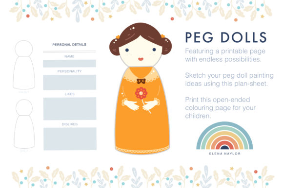 Peg Dolls Graphic Print Templates By ElenaNaylor