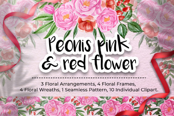 Print on Demand: Peonies Pink and Red Flower Illustration Graphic Illustrations By OrchidArt