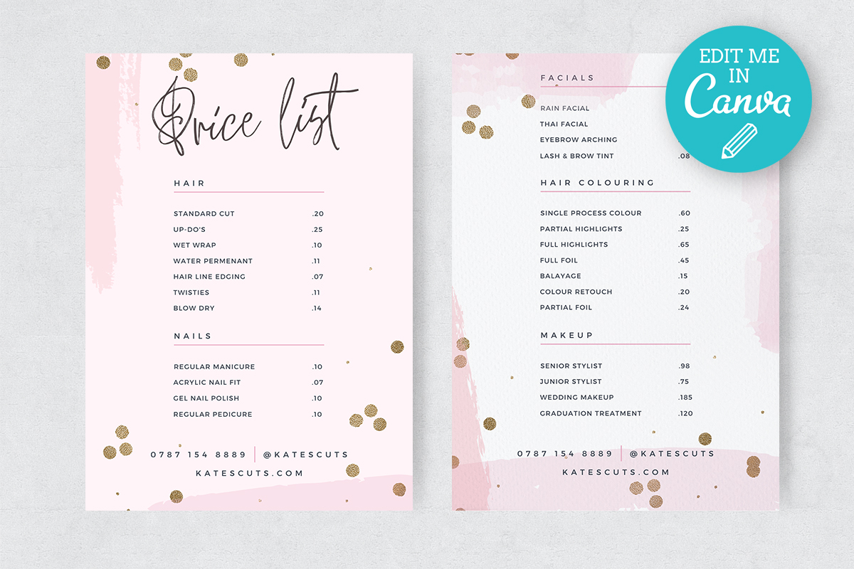 Pink Gold Editable Price List Template Graphic By