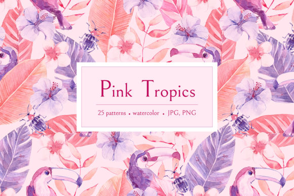 Print on Demand: Pink Tropics Patterns. Graphic Patterns By dinkoobraz