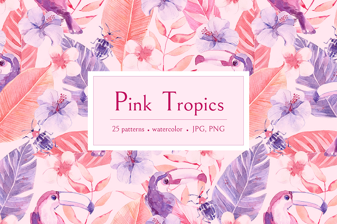 Download Free Pink Tropics Patterns Graphic By Dinkoobraz Creative Fabrica for Cricut Explore, Silhouette and other cutting machines.