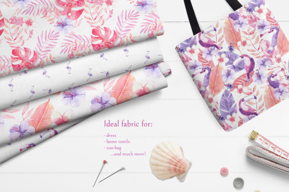 Pink Tropics Patterns Graphic By Dinkoobraz Creative Fabrica