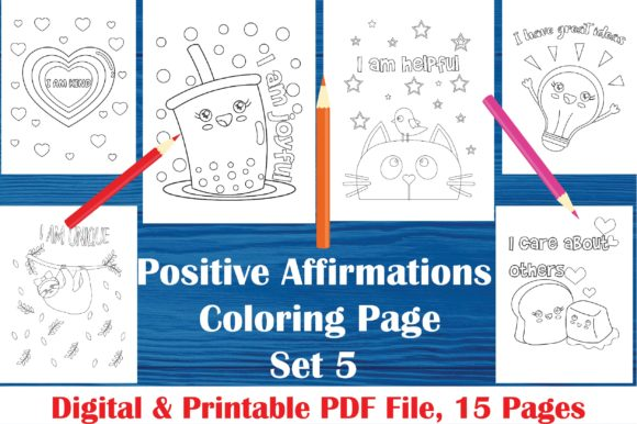 Download Free Positive Affirmations Coloring Pages Graphic By Midasstudio for Cricut Explore, Silhouette and other cutting machines.