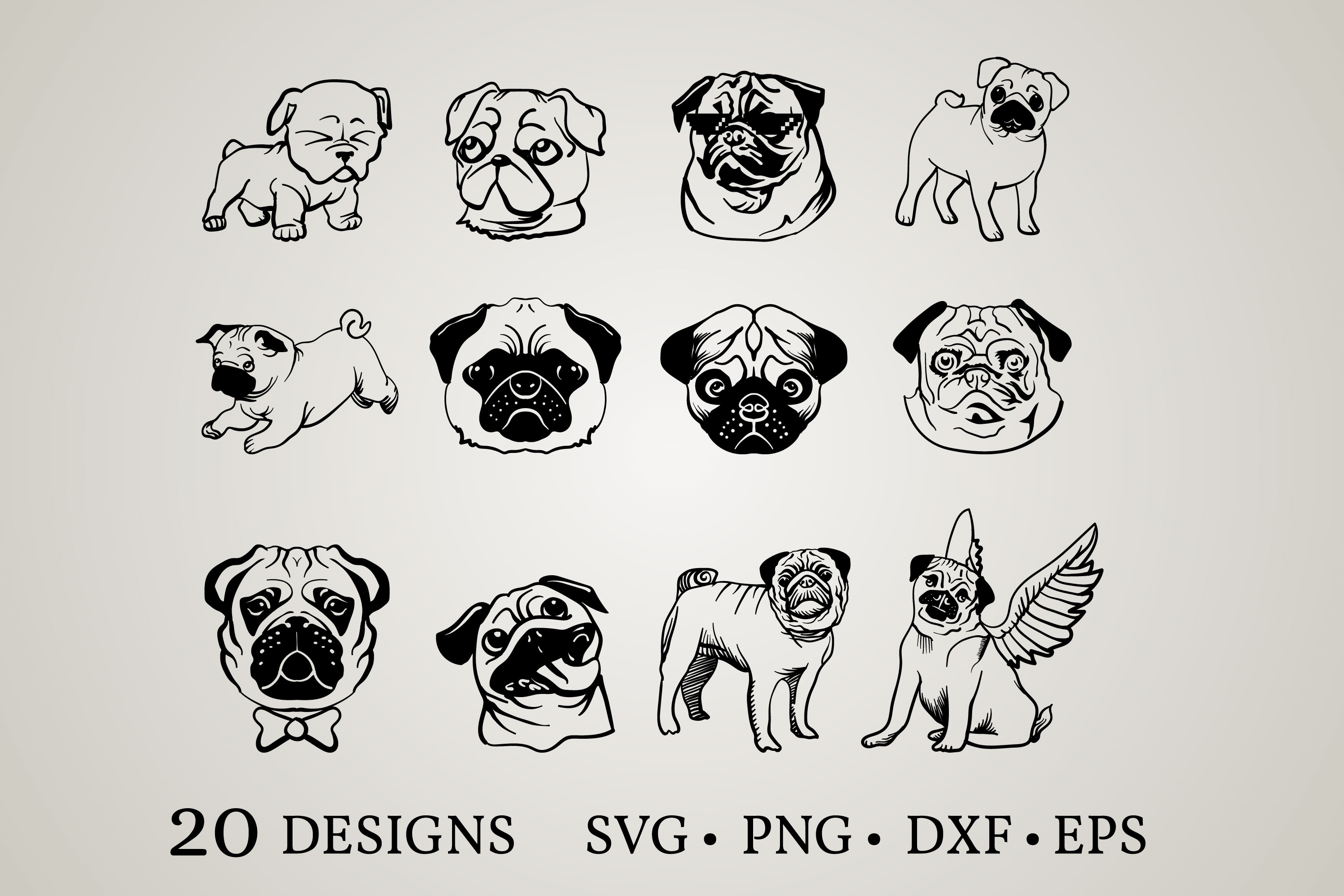 Download Free Pug Bundle Graphic By Euphoria Design Creative Fabrica for Cricut Explore, Silhouette and other cutting machines.