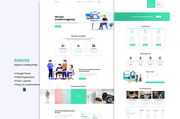 Rarver - Agency Template UI Kit Graphic UX and UI Kits By artgalaxy