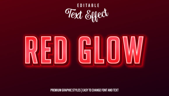 Download Free Red Neon Glow Text Effect Graphic By Eddyinside Creative Fabrica for Cricut Explore, Silhouette and other cutting machines.