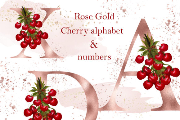 Print on Demand: Rose Gold Cherry Alphabet and Numbers Graphic Illustrations By Andreea Eremia Design