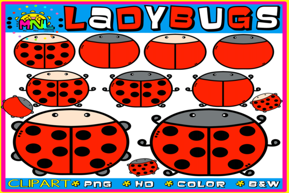 Round Ladybugs Clip Art Graphic Teaching Materials By Ziza Mariposa