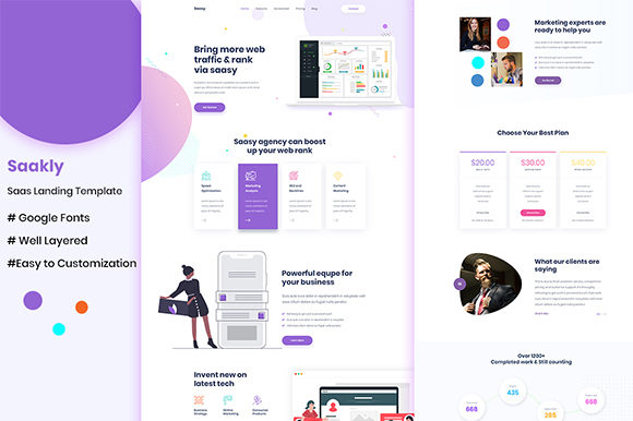 Saakly- Creative Template for Saas Graphic UX and UI Kits By artgalaxy
