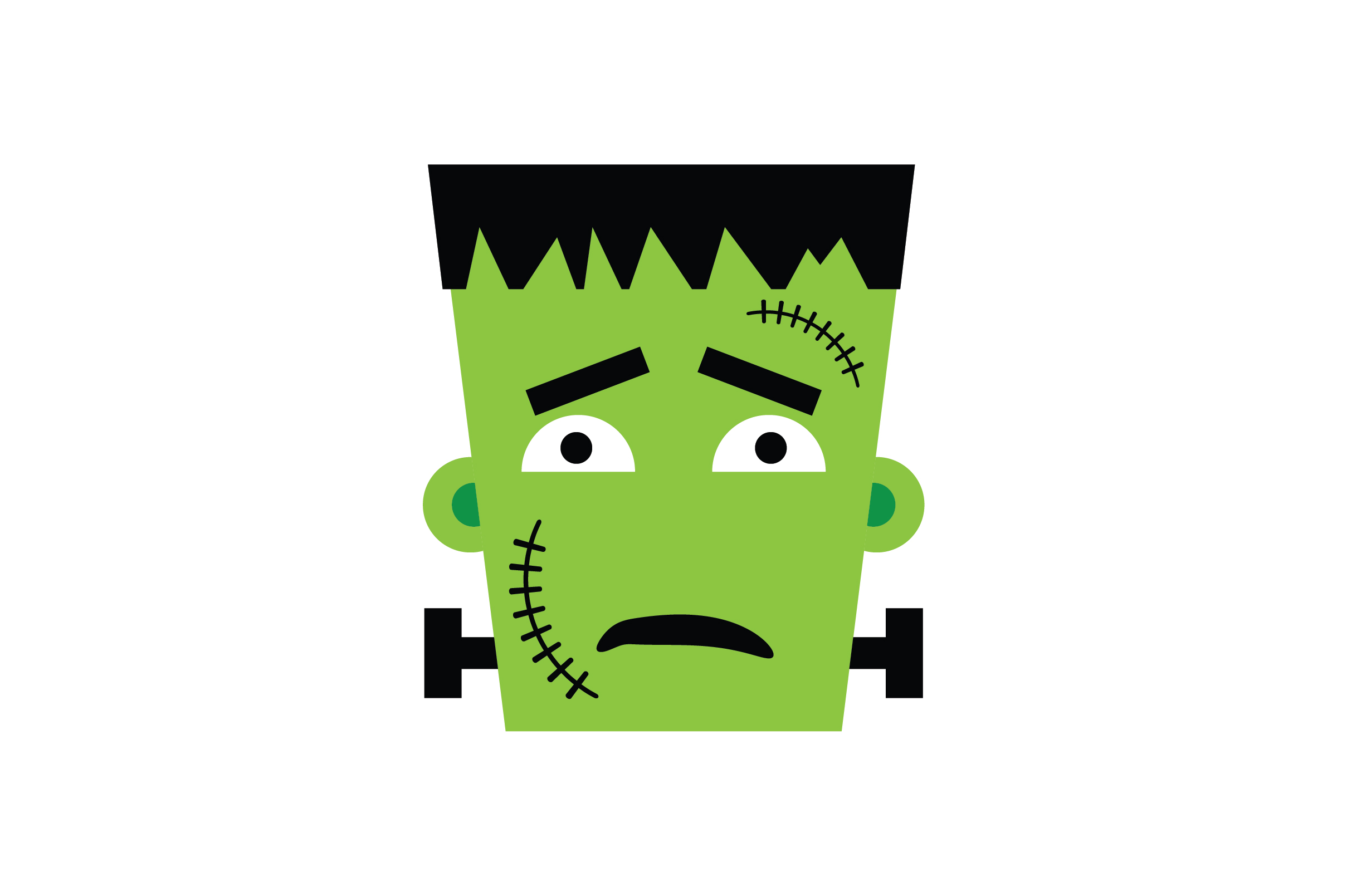 Download Free Sad Face Frankenstein Character Graphic By Fauzidea Creative Fabrica for Cricut Explore, Silhouette and other cutting machines.