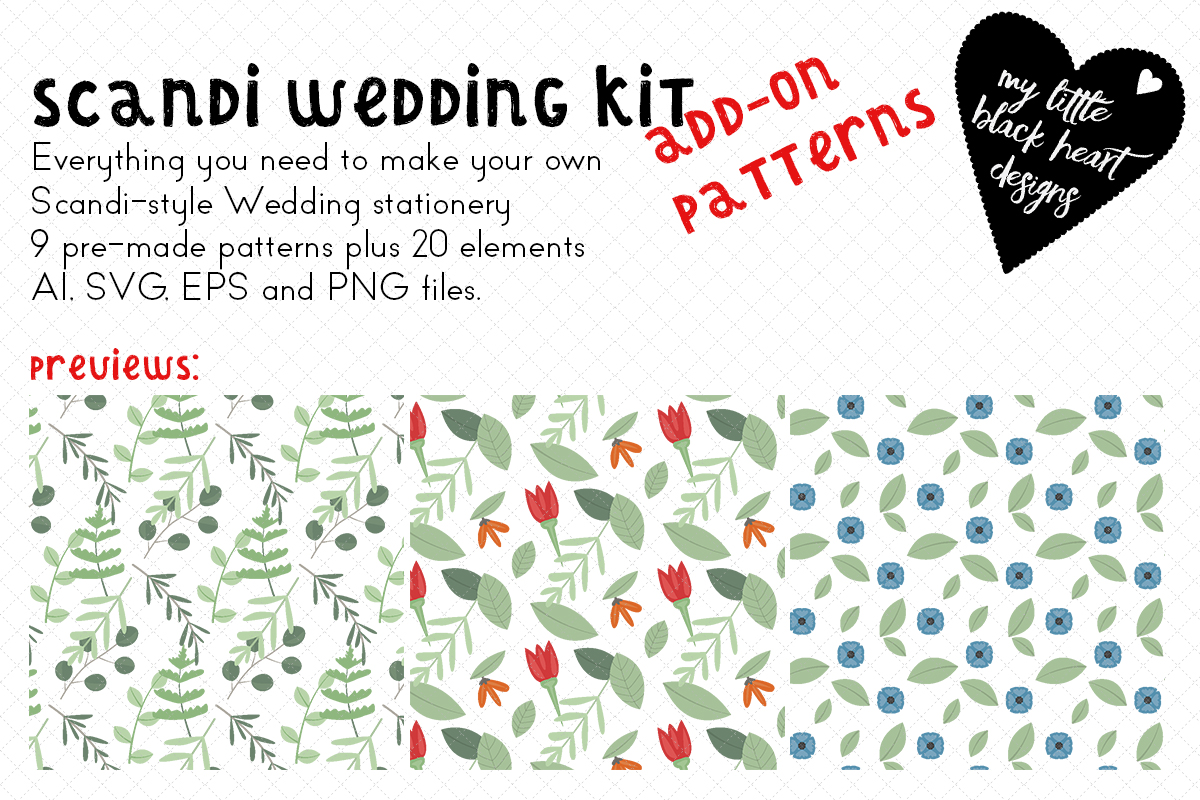 Scandi Wedding Addon Patterns Elements Graphic By My Little