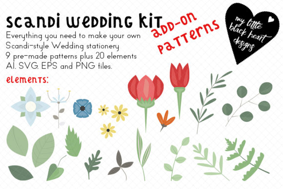 Download Free Scandi Wedding Addon Patterns Elements Graphic By My Little for Cricut Explore, Silhouette and other cutting machines.