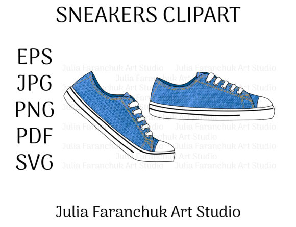 Print on Demand: Sneakers Shoes Graphic Illustrations By Julia Faranchuk Art Studio