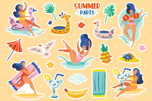 Download Free Summer Party Cliparts Stickers Vector Graphic By Foxbiz SVG Cut Files