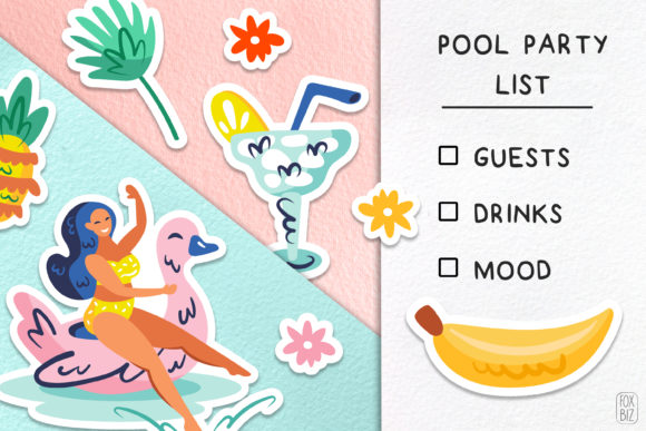 Download Free Summer Party Cliparts Stickers Vector Graphic By Foxbiz for Cricut Explore, Silhouette and other cutting machines.
