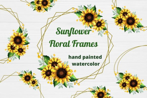 Sunflower Frames Watercolor Graphic Illustrations By  Magic world of design
