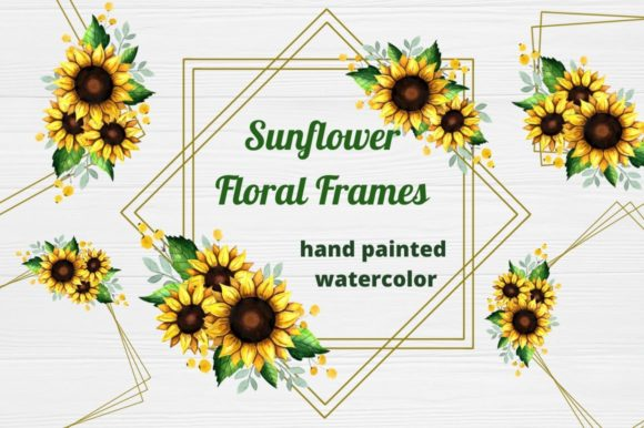 Download Free Sunflower Frames Floral Watercolor Graphic By Magic World Of for Cricut Explore, Silhouette and other cutting machines.
