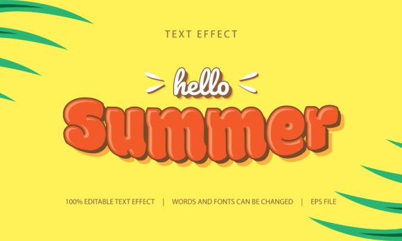 Download Free Text Effect Hello Summer Graphic By Be Young Creative Fabrica for Cricut Explore, Silhouette and other cutting machines.